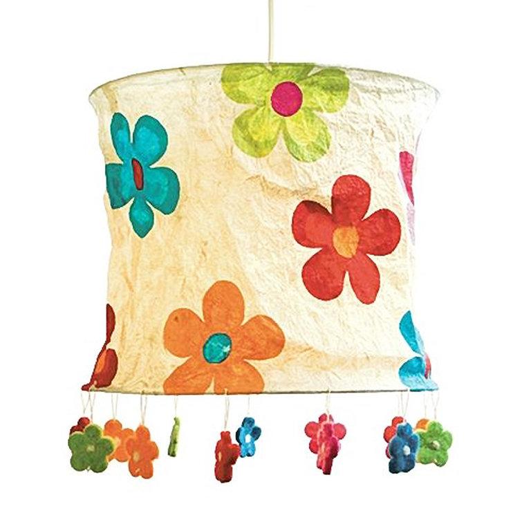 lokta papier lampenschirm blumen natur. Black Bedroom Furniture Sets. Home Design Ideas