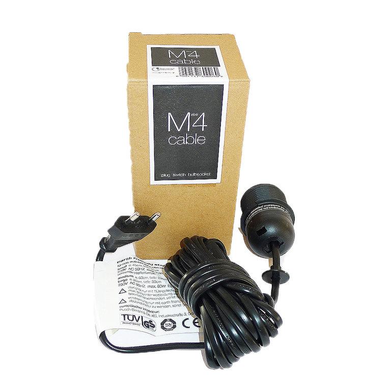 kabel 4m mit stecker schalter fassung e27 schwarz. Black Bedroom Furniture Sets. Home Design Ideas
