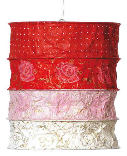 Lokta Paper Lampshade - Briton red-white