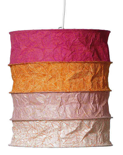 Lokta Paper Lampshade - India pink orange