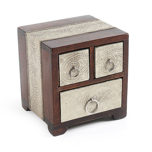 Casilla Silvico Mangowood box with 3 drawers