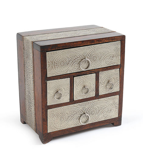 Casilla Silvico Mangowood box with 5 drawers