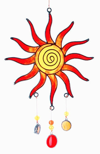 Suncatcher Sonne Spirale rot orange