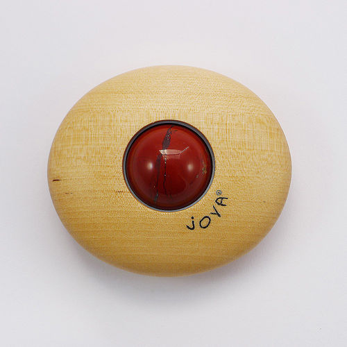 JOYA® Massageroller Classic Birchwood with Jasper red 30 mm